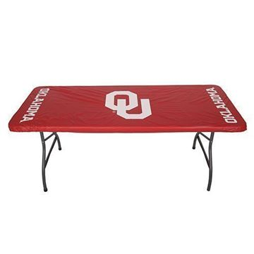 "University of Oklahoma 30"" x 72"" 6 Feet Fitted Plastic Table Covers 5 Pack"